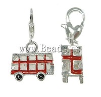 Zinc Alloy Enamel Lovely Bus Pendant, with lobster clasp,17x29x6mm,Hole:Approx 5x4mm