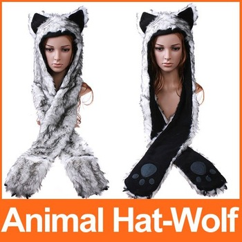 Multifunctional Cartoon Animal Hat Caps Wolf Plush Soft  Earmuff Scarf Gloves Warm Hat  Free Shipping wholesale