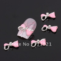 Special Pink Bow Tie Alloy 3D Rhinestone Nail Art Slices DIY Decoration + 100 pcs /bag
