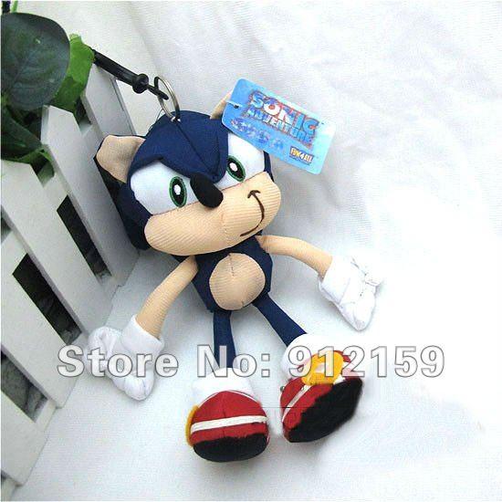 """Hot vente nouveau sonic hedgehog peluche. chaîne poupée clés 8"""" sonic en peluche jouet de poupée ems. livraison gratuite"""
