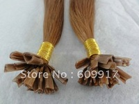 100% human remy hair blonde straight fusion hair extension with V-tipped