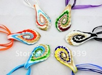 $10 OFF PER$100 Mixed colours Fahion jewelry Glass jewelry  Murano glass pendant Coloured Glaze Pendant Necklace 6pcs/Lot BS065