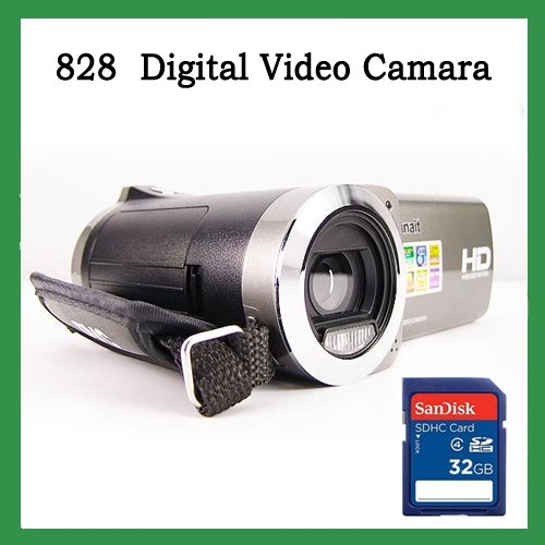 Free shipping silver 3MP CMOS Sensor camera Li-ion battery digital vidicon amcorder+ 32G SD Card(China (Mainland))
