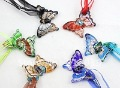 Mixed colours Fahion jewelry Glass jewelry  Murano glass pendant Coloured Glaze Pendant Necklace 6pcs/Lot BS080