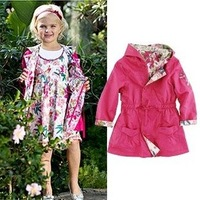Free Shipping,1pieces/lot,spring autumn children brand Double-sided to wear design long sleeve cotton coat,size 2-12 year,red