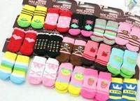 Free shipping !Wholesale NEW Fashion Design pet Dog Socks  24pcs/lot=6sets/lot hot selling products