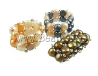 Free Shipping Freshwater Pearl Finger Ring, with glass seed beads, mixed color,13mm, 10pcs/Bag, Sold by Bag