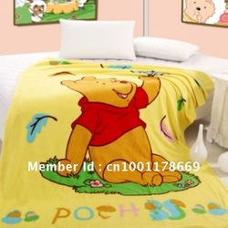 "Yellow Animal Cute Bear Velvet Throw TV Blanket Quilt Bed Sheet Large Size 80"" = 200 cm(China (Mainland))"