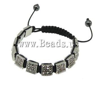 Free Shipping Zinc Alloy Shamballa Bracelet, zinc alloy beads with rhinestone, platinum plated, 11 PCs, knitted nylon cord