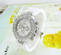 Women's Free Shipping Wholesale cyrstal Silicone quartz watch, fashion lady's wrist watches NW264