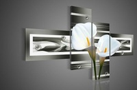 Free Shipping hand-painted wall art black Pure white lilies home decoration Landscape oil painting on canvas 4pcs/set DY-040