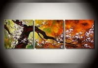 Free Shipping hand-painted White flowers clouds High Q. Wall Decor Modern Abstract Oil Painting on canvas 3pcs/set  DY-046