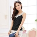 Free Shipping!Hot!Wholesale!Korea Style Lace collar knitted vest cotton T-shirt,Simple and generous