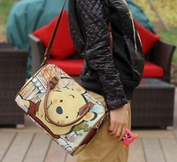 Innocent and cute animals bear printing lady handbag with long strap,cute & sweet animal bags,casual&fashion ladies handbags2013
