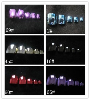 Metallic Toenail Tips (Sold in per package of 70pcs,assorted colors),Acrylic Nail Art Tips,Professional Fake False Nail Tips