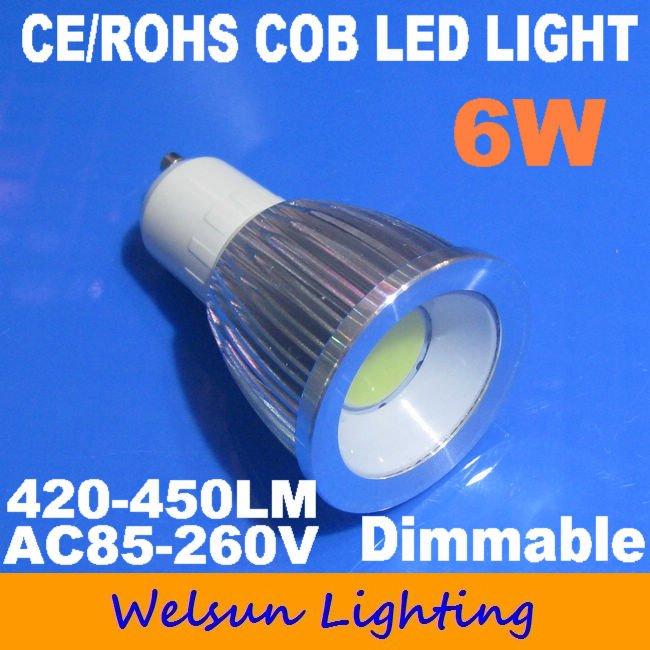 20PCS 6W COB LED GU10 Spotlight Bulbs LED ceiling light + FREE SHIPPING (Warm or Cool White)(China (Mainland))