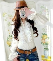 Free shipping 2014 tight slim waist double layer ruffle stand collar long-sleeve shirt,chiffon blouse,casual blouse,S/M/L/XL/XXL