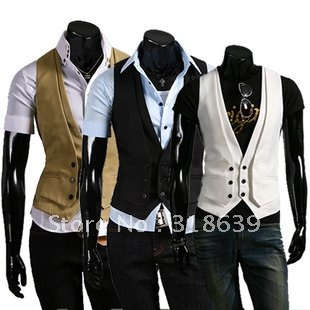 Free Shipping Korean Fashion Men&#39;s Suit Vest Top slim fit luxury fake two piece M,L,XL business Vest(China (Mainland))