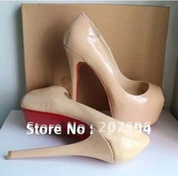 HOT Luxury 16CM Women's Super-High Heel Shoes Pump Platform Eight Sizes 2 Colors Nude and Black