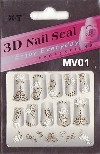 Series diy fashion three-dimensional 3d finger applique 3D nail art mv gold series 01