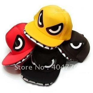 Super Cool Shark Mouth Hiphop bboy Baseball Cap Flat Sun Hat, Unisex Adjustable