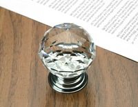 Furniture handle Designer Series K9 Crystal Glass Chrome Cabinet Cupboard Door Knob (Diameter:30mm)
