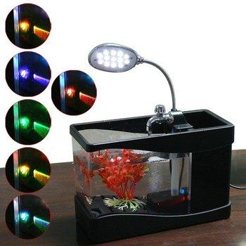 Mini USB Fish Tank Colorful LED Aquarium Desktop Lamp Light Black free ship