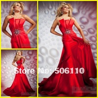 Custom Tony Hot Style Strapless Mermaid Satin Crystals Beads Ruffles Red Prom Dresses Formal Evening Party Cocktail Dress Gowns