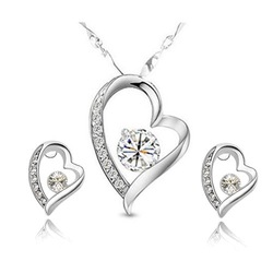 free shipping fashion white heart zircon jewelry set silver,cheap rhinestone silver jewellery set(China (Mainland))
