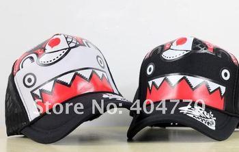 Fashion Cool Big Mouth Shark Adjustable Hiphop bboy Baseball Cap, Flat Mesh Sun Hat, Sunbonnet, 10pcs/lot