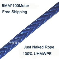 New Strong 100% UHMWPE Synthetic Winch Cable/Rope 5MM*100Meter for 4WD/ATV/UTV/SUV Winch Use////free shipping