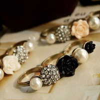 Min.order is $15 (mix order)Vintage Rose Pearl Flowers Three Finger Ring
