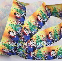 "50 yards 1"" Merry Christmas Minnie&Mickey Tree GROSGRAIN Print RIBBON BOW. Welcome Custom Design! Free Shipping"