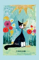 Free Shipping  Cat in Garden Linen Tea Towels