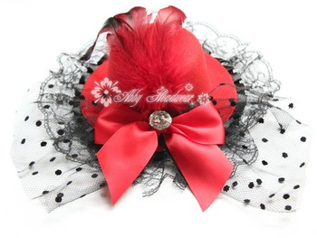 lady women mini top hat cap feather bowknot lace fascinator hair clip rhinestone 12pcs/lot