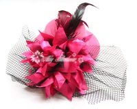 Big flower attached on Felt Feather Mini top Hat with race Hair fascinator Hair Clip Hair Accessories  12pcs/lot
