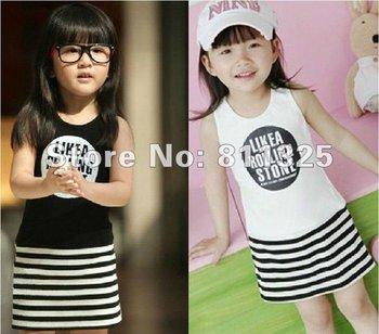 Free shipping by EMS children's clothing girls Stripe dresses kids cheap dress girl princess dresses