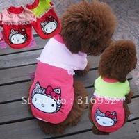Y6 Free shipping O-collar hello kitty dog t shirt(XS-L),puppy t shirt