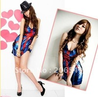 Sexy Women Sequin Party Cosplay Dance Mini Dress Blue