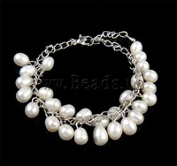 Free Shipping Natural Pearl Bracelet, link bracelet, white pearl beads, with iron chain & lobster clasp, 7x11.5mm
