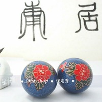 Imitation cloisonne 50mm baoding balls w/red peony in blue.Fadeless.Musical stress balls,exercise relief balls.
