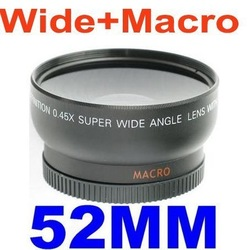 wholeale 5pcs/lot 52mm 0.45x Wide Angle Lens for Nikon D3000 D7000 D90 D3000 D5000 D40 D60 D40 D50 D60 D70 D80 D40X(China (Mainland))