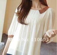 Dot doll collar sleeve loose white T-shirt  A307