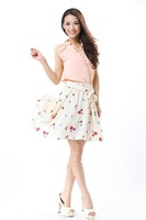 Free shipping patchwork bow belt sleeveless pleated vest chiffon dress 2012 design hot selling