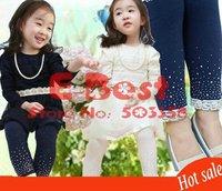 Леггинсы для девочек New Design! 5pcs/lot girl fashion legging kids jeans design legging girl soft tights girl slim pants 3colors trouses sweet pants