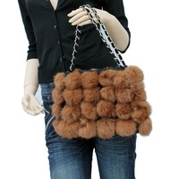 Genuine Rabbit Fur Ball Evening Bag  women's handbag 8 colors~ Free Shipping