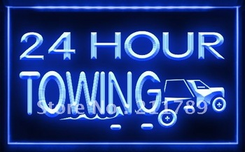 AC008 B 24 Hours Towing Car Repairs Auto Neon Light Sign