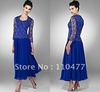Elegant A-line Royal Blue Chiffon Mother of the Bride with Sleeve Lace Decoration Pant Suits FM247