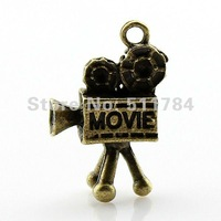 40pcs/lot 25*17*8mm vintage antique bronze plated 3d movie camera charms