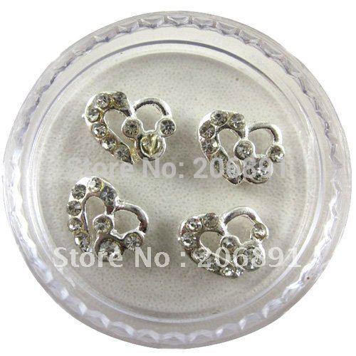 Free Shipping NAA-048 24 Boxes/Lot Alloy Heart Nail Beauty Nail Accessory Nail Art Supplier Mobile Decor Wholesale or Retail(China (Mainland))